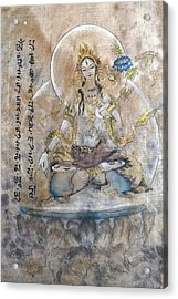 White Tara  Acrylic Print by Silk Alchemy