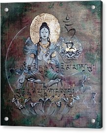 White Tara With Mantra Acrylic Print