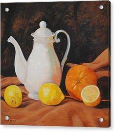 White Teapot Acrylic Print by Jean Peace