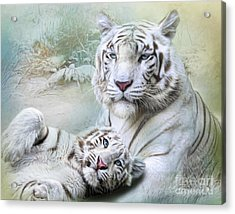 Acrylic Print featuring the digital art  White Tiger by Trudi Simmonds