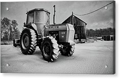 White Tractor Acrylic Print
