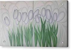White Tulips  Acrylic Print by Marinella Owens