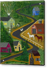 Acrylic Print featuring the painting White Turkey Day On The Road To Prosperity by Gail Finn