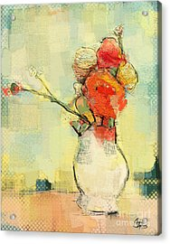 White Vase Acrylic Print by Carrie Joy Byrnes