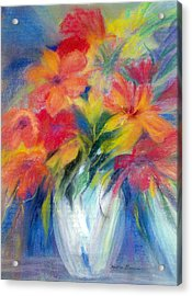 White Vase Acrylic Print by Maritza Bermudez