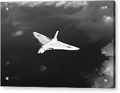 Acrylic Print featuring the digital art White Vulcan B1 At Altitude Black And White Version by Gary Eason