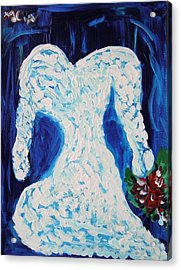 Acrylic Print featuring the painting White Wedding Dress On Blue by Mary Carol Williams