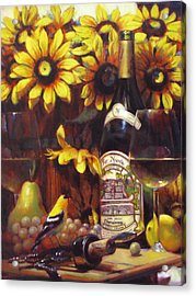White Wine And Gold Finch With Sun Flower Acrylic Print by Takayuki Harada