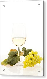 White Wine In Glass With Grapes Acrylic Print