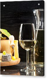 White Wine With Cheese Platter Acrylic Print
