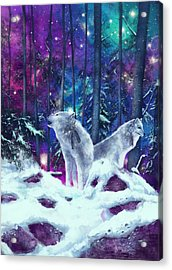 White Wolves Acrylic Print by Bekim Art