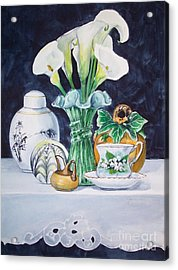White Yellow And Green Composition Acrylic Print