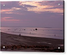 Whitehorse Beach - Sunset Acrylic Print by Nancy Ferrier