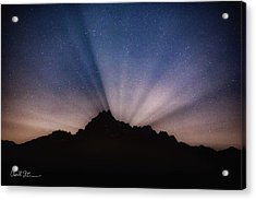 Whitehorse Mountain Moon Rays Acrylic Print