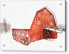 Acrylic Print featuring the painting Whiteout On The Farm Blizzard Stella by Edward Fielding