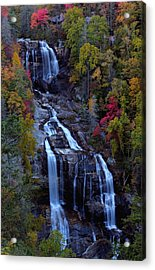 Whitewater Falls In Autumn Acrylic Print by Jetson Nguyen