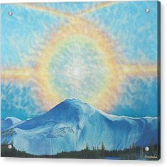 Who Makes The Clouds His Chariot Fire Rainbow Over Alberta Peak Acrylic Print