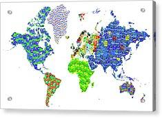 Whole World's Gone Bananas - World Map Sticker Art Acrylic Print by Rayanda Arts