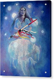 Whtie Buffalo Woman From The Pleiades Acrylic Print