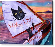 Wicked Kitty's Catboat Acrylic Print by Catherine G McElroy
