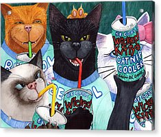 Wicked Kitty's Catnip Cooler Acrylic Print by Catherine G McElroy