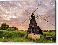 Acrylic Print featuring the photograph Wicken Wind-pump At Sunset II by James Billings