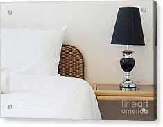 Acrylic Print featuring the photograph Wicker Rattan Bed by Atiketta Sangasaeng