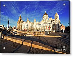 Wide Angle View Of The Liver Buildings. Liverpool Uk Acrylic Print by Ken Biggs
