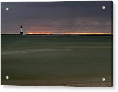 Wide View Of Lighthouse And Sunset Acrylic Print