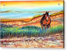 Acrylic Print featuring the painting Wild And Free Sable Island Horse by Patricia L Davidson