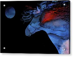 Wild Horse Under A Full Moon Abstract Acrylic Print by Michelle Wrighton