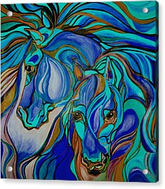 Wild  Horses In Brown And Teal Acrylic Print