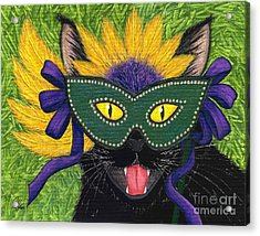 Acrylic Print featuring the painting Wild Mardi Gras Cat by Carrie Hawks