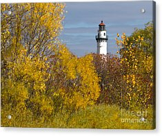 Wind Point Lighthouse In Fall Acrylic Print
