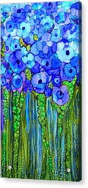 Wild Poppy Garden - Blue Acrylic Print by Carol Cavalaris