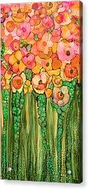 Acrylic Print featuring the mixed media Wild Poppy Garden - Gold by Carol Cavalaris