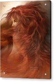 Wild Red Wind Acrylic Print by Carol Cavalaris