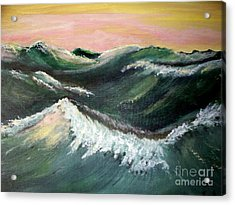Acrylic Print featuring the painting Wild Sea by Carol Grimes