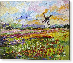 Acrylic Print featuring the painting Wild Tulips Dutch Country Side by Ginette Callaway