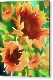 Wild Vibrant Sunflowers Acrylic Print by Georgiana Romanovna