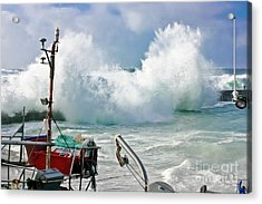 Wild Waves In Cornwall Acrylic Print by Terri Waters