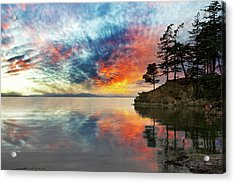 Wildcat Cove In Washington State At Sunset Acrylic Print by David Gn