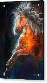 Acrylic Print featuring the painting Wildfire Fire Horse by Sherry Shipley