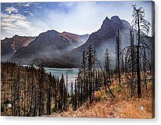 Acrylic Print featuring the photograph Wildfire Remnants Overlooking St. Mary's Lake, Glacier National Park by Lon Dittrick