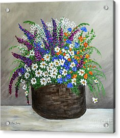 Acrylic Print featuring the painting  Wildflower Basket Acrylic Painting A61318 by Mas Art Studio