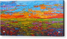 Wildflower Field At Sunset - Modern Impressionist Oil Palette Knife Painting Acrylic Print