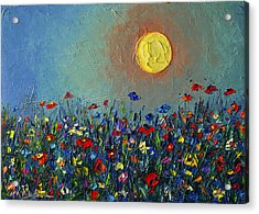 Wildflowers Meadow Sunrise Modern Floral Original Palette Knife Oil Painting By Ana Maria Edulescu Acrylic Print