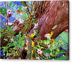 Wildflowers On A Cypress Knee Acrylic Print