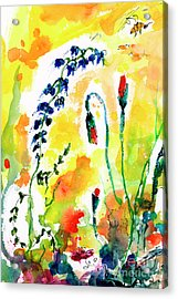 Wildflowers Provence Poppies And Bees Acrylic Print