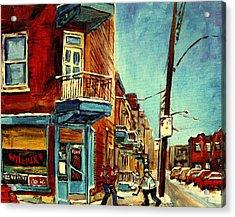 Wilensky's Corner Fairmount And Clark Acrylic Print by Carole Spandau